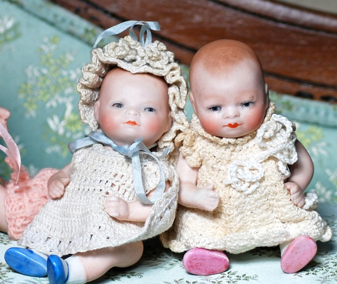 PAIR OF GERMAN ALL-BISQUE BYE-LO BABIES WITH GLASS EYES