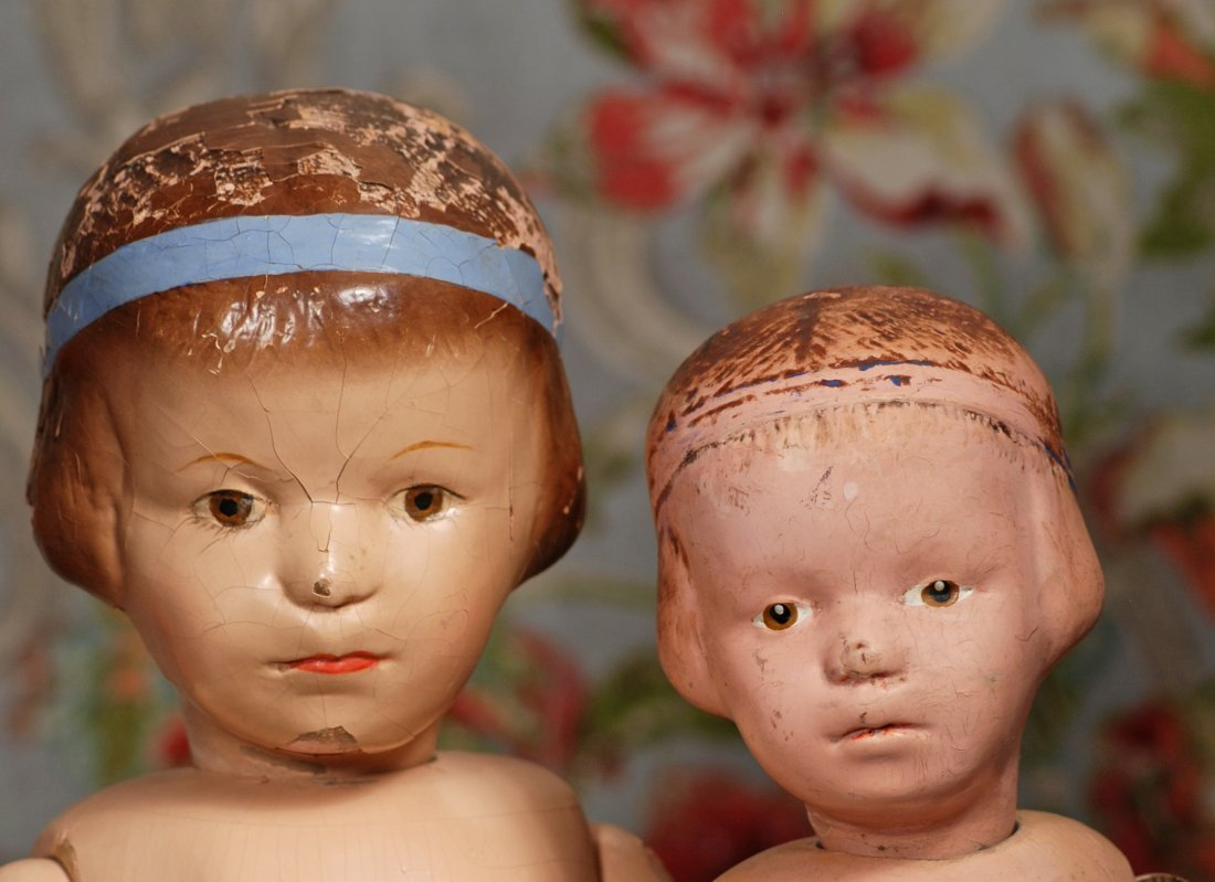TWO  WOODEN SCHOENHUT  CHARACTER DOLLS WITH  HEADBAND. - 2