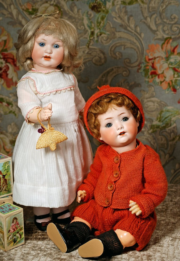 TWO GERMAN BISQUE CHARACTERS.- TODDLER AND BABY