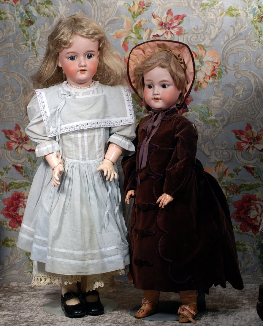 TWO NICE LARGE GERMAN BISQUE CHILD DOLLS.