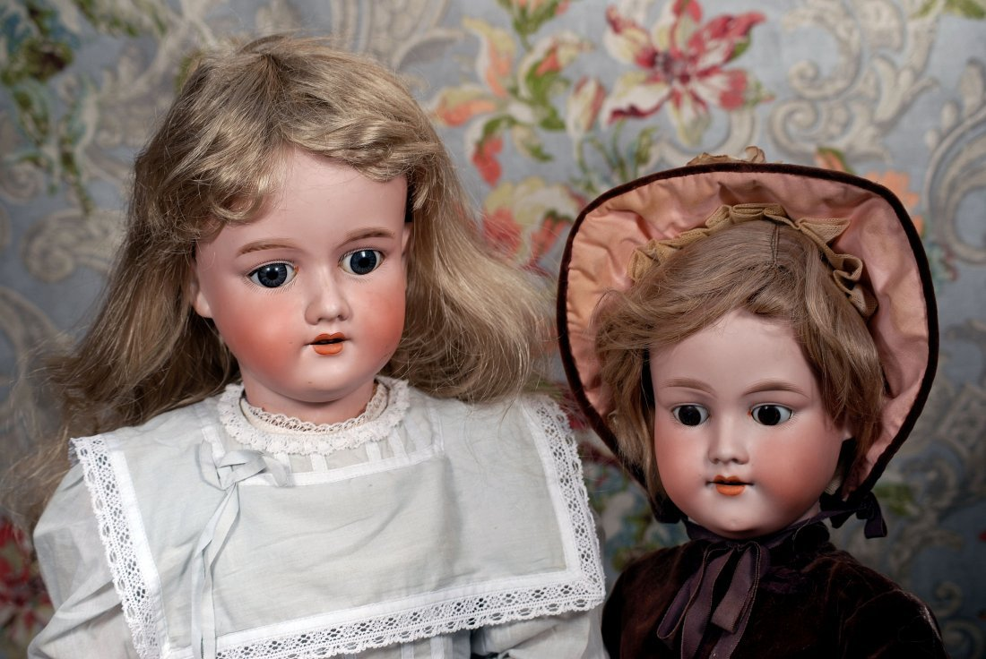 TWO NICE LARGE GERMAN BISQUE CHILD DOLLS. - 2