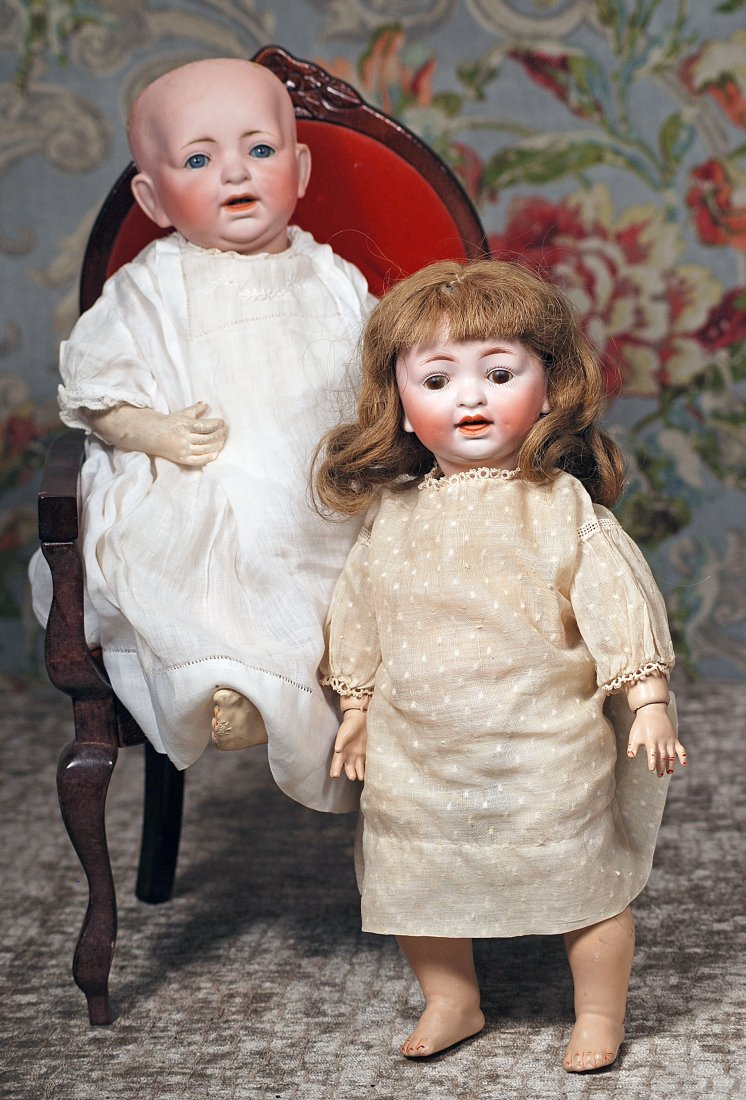 TWO GERMAN BISQUE CHARACTER DOLLS.