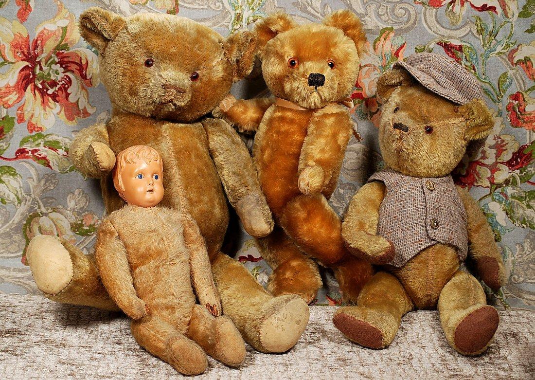 FOUR OLD MOHAIR TEDDY BEARS