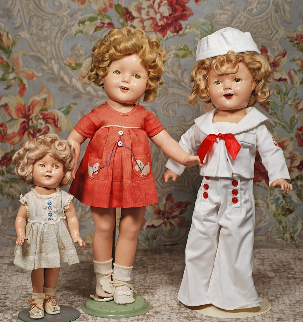 THREE COMPOSITION SHIRLEY TEMPLE DOLLS.