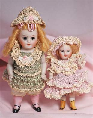 """. TWO GERMAN ALL-BISQUE DOLLS. (1) 5"""" doll jointed"""