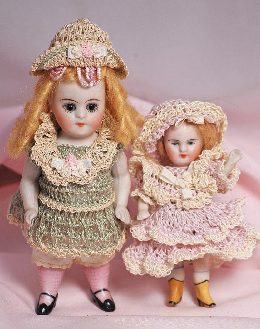 "8. TWO GERMAN ALL-BISQUE DOLLS. (1) 5"" doll jointed"
