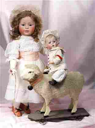 """. LAMB ON WHEELS PULL-TOY. 13"""" H. Paper mache and"""