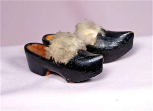 23 FURTRIMMED WOODEN CLOGS Overall length 3 12