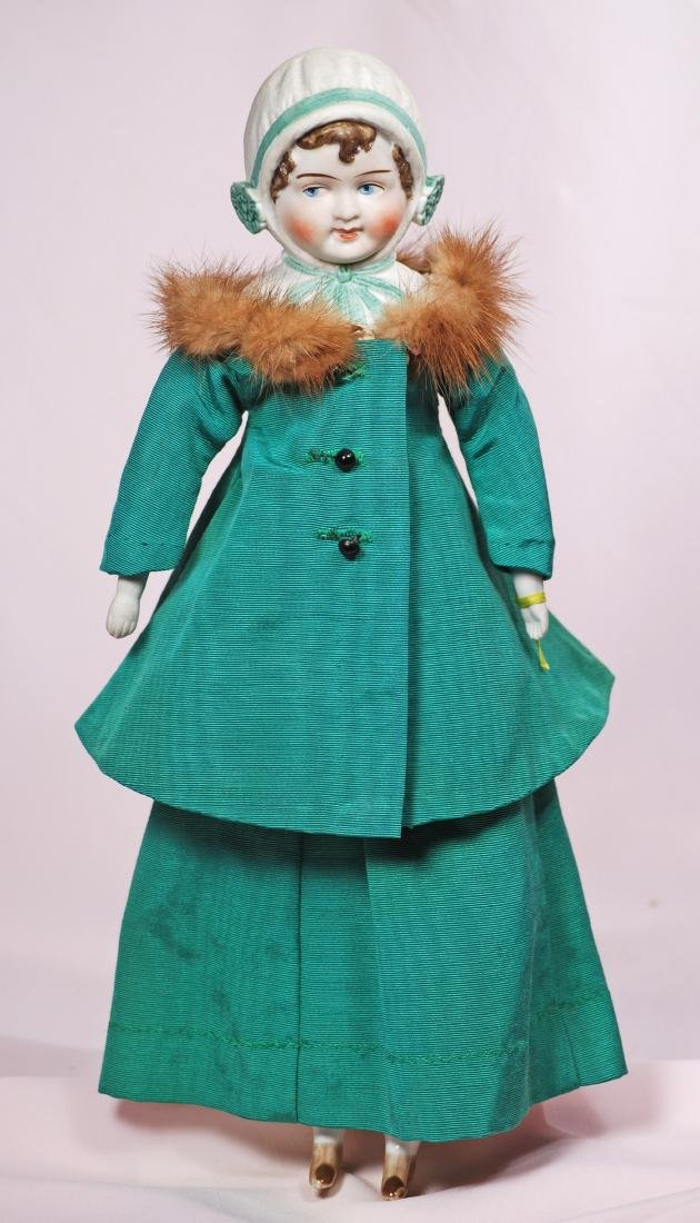 57. GERMAN BISQUE DOLL WITH SCULPTED BONNET AND GOOGLY - 2