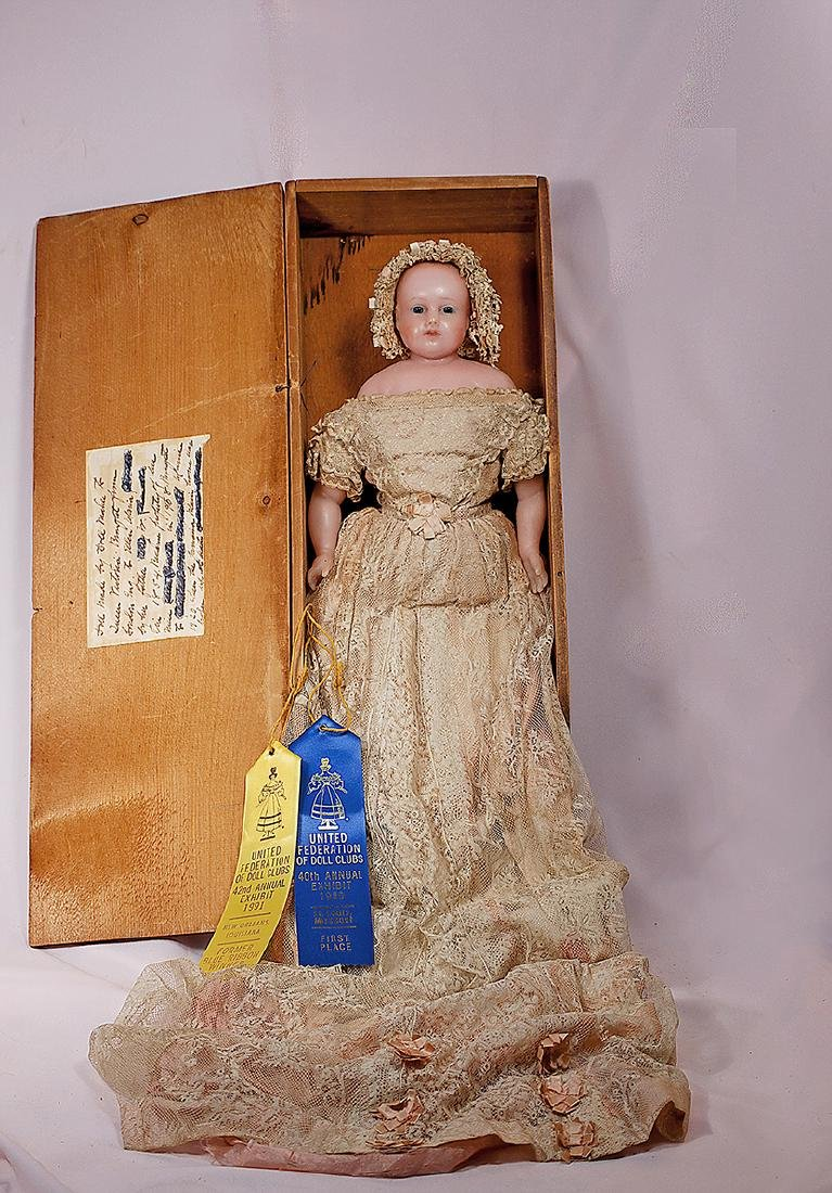 67. ENGLISH POURED WAX DOLL, ALL-ORIGINAL IN WOODEN