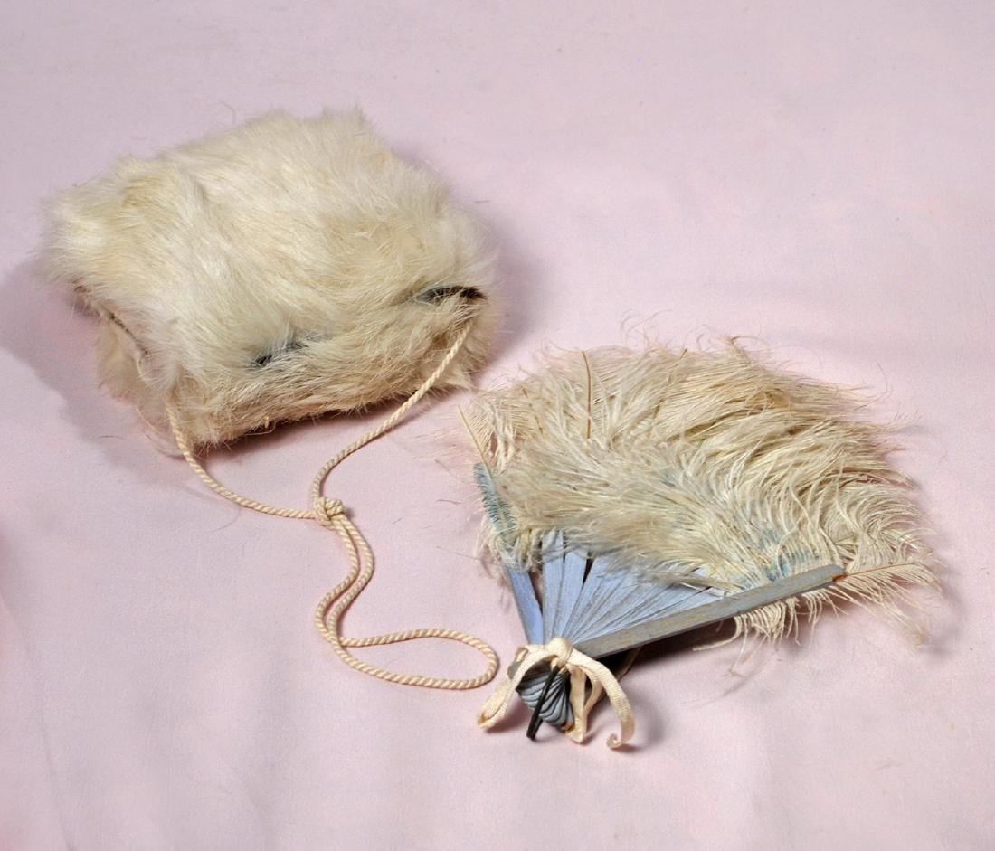 """71. DOLL'S FAN AND MUFF. 7"""" fan with white feathers and"""
