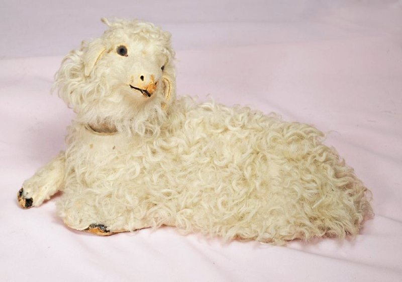 91. WOOLLY LAMB CANDY CONTAINER. Paper mache lamb with - 2
