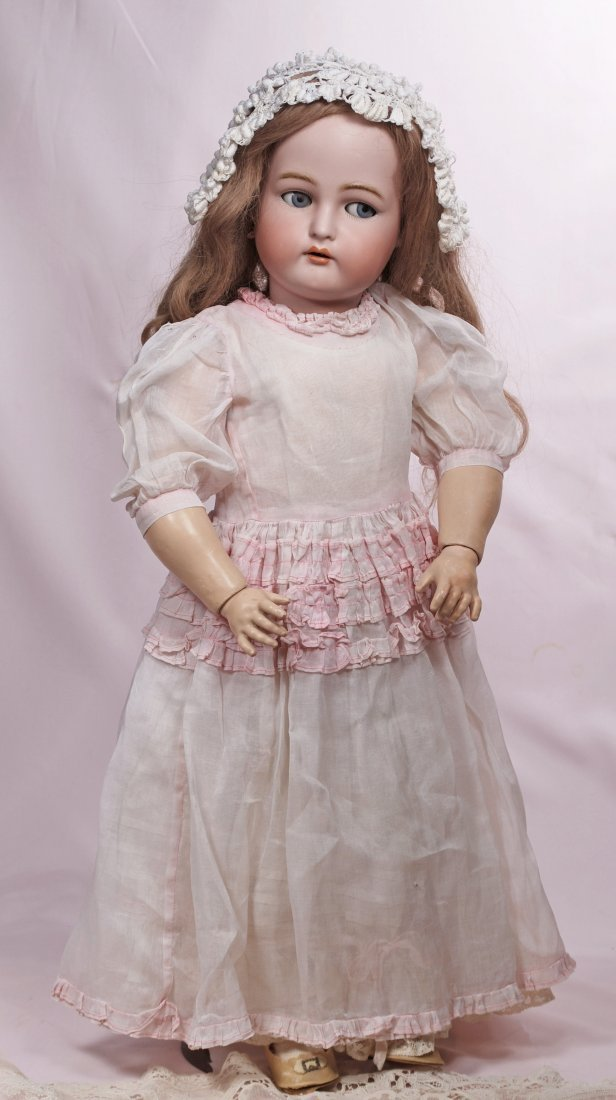 98. FLIRTY-EYED GERMAN BISQUE DOLL BY KAMMER & - 2