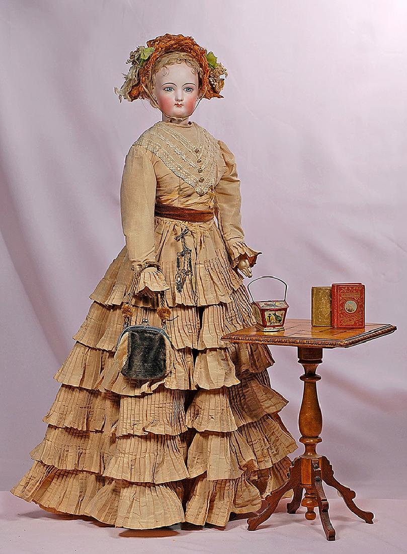 """107. FRENCH DOLL SIZE MAPLEWOOD PEDESTAL TABLE. 11 1/2"""""""