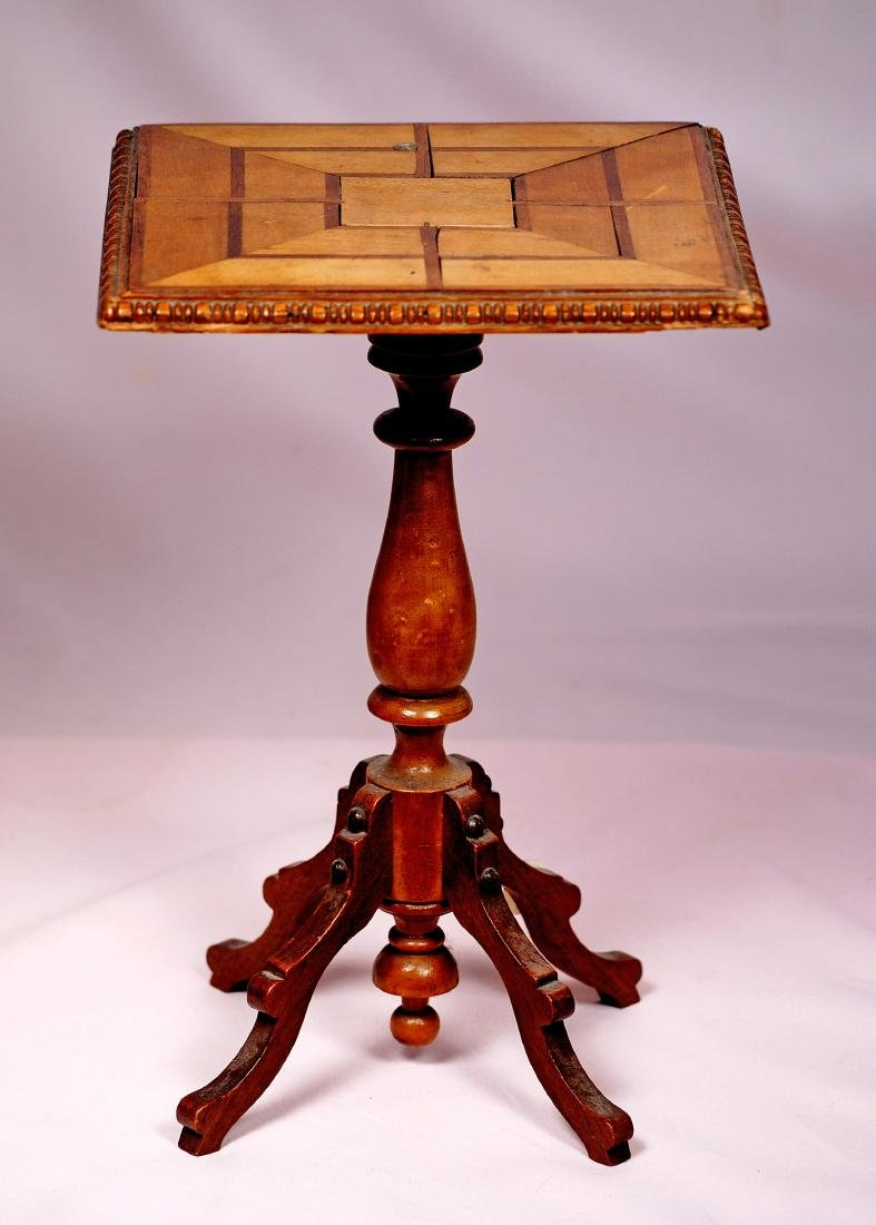"""107. FRENCH DOLL SIZE MAPLEWOOD PEDESTAL TABLE. 11 1/2"""" - 3"""