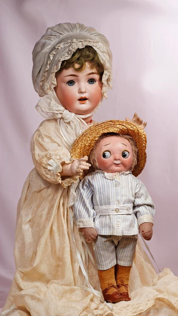 158. GERMAN BISQUE CHARACTER WITH TODDLER BODY, BY