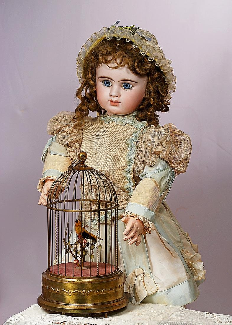 171. GERMAN MECHANICAL SINGING BIRD IN CAGE BY