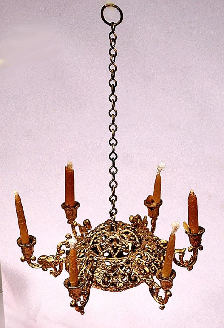175. MINIATURE SIX ARM HANGING CHANDELIER WITH