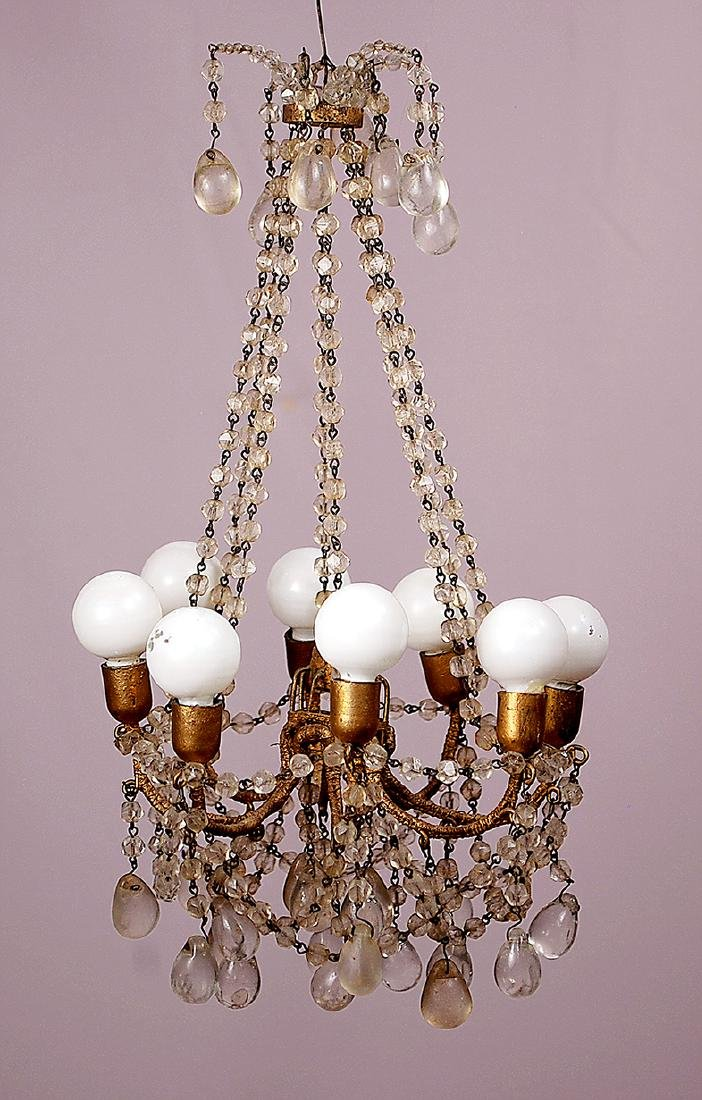 177. VERY ORNATE CRYSTAL EIGHT-ARM CHANDELIER. Crystal