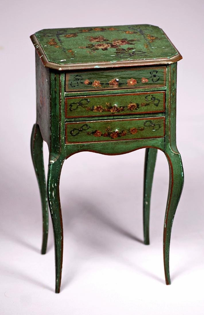 183. FRENCH DOLL'S WOODEN TABLE WITH DECORATIVE