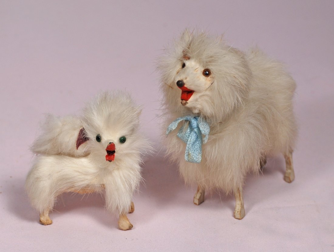 "183-A. TWO MINIATURE FRENCH SALON DOGS. 5"" and 3"". Each"