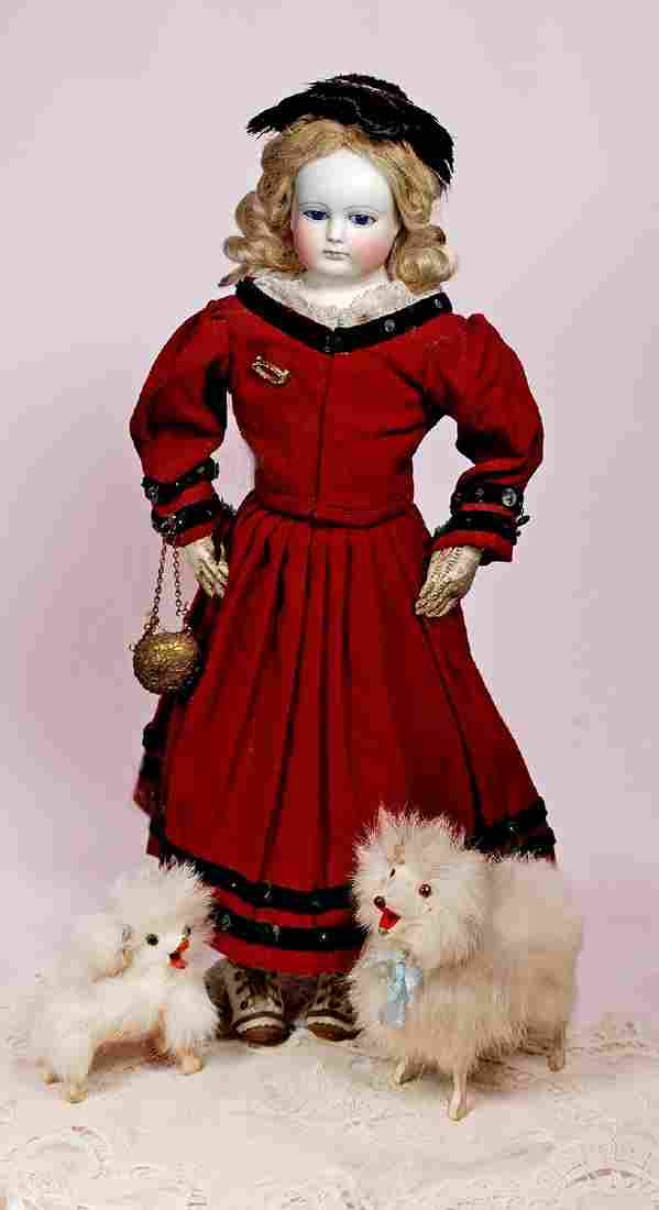 184. GORGEOUS, EARLY FRENCH BISQUE POUPEE ATTRIBUTED TO