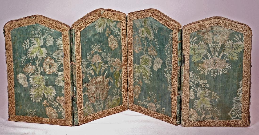 "192. MINIATURE FOUR-PANEL FOLDING SCREEN. 10"" H., each"
