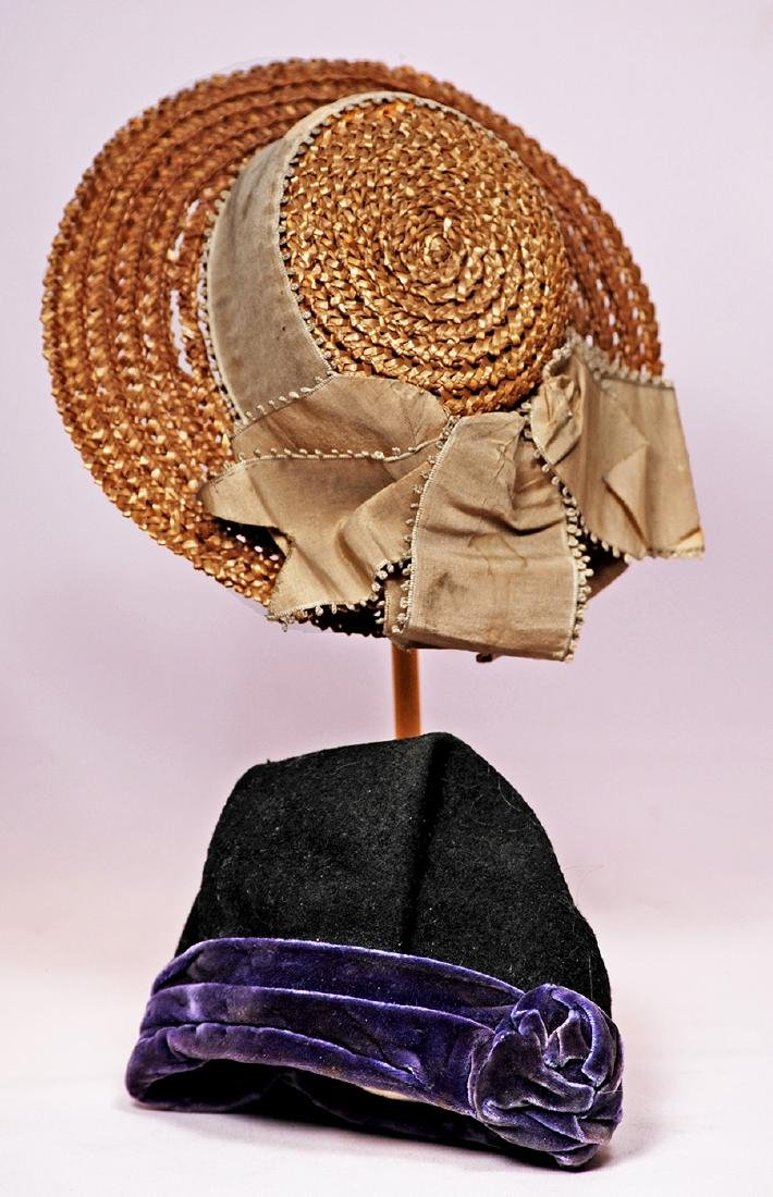 195. TWO DOLL BONNETS. (1) Natural woven straw bonnet
