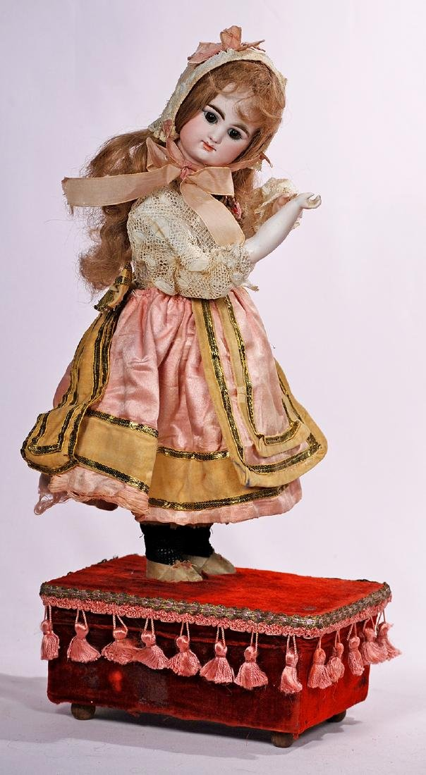 196. FRENCH BISQUE AUTOMATON BY LAMBERT. Marks: LB. key;