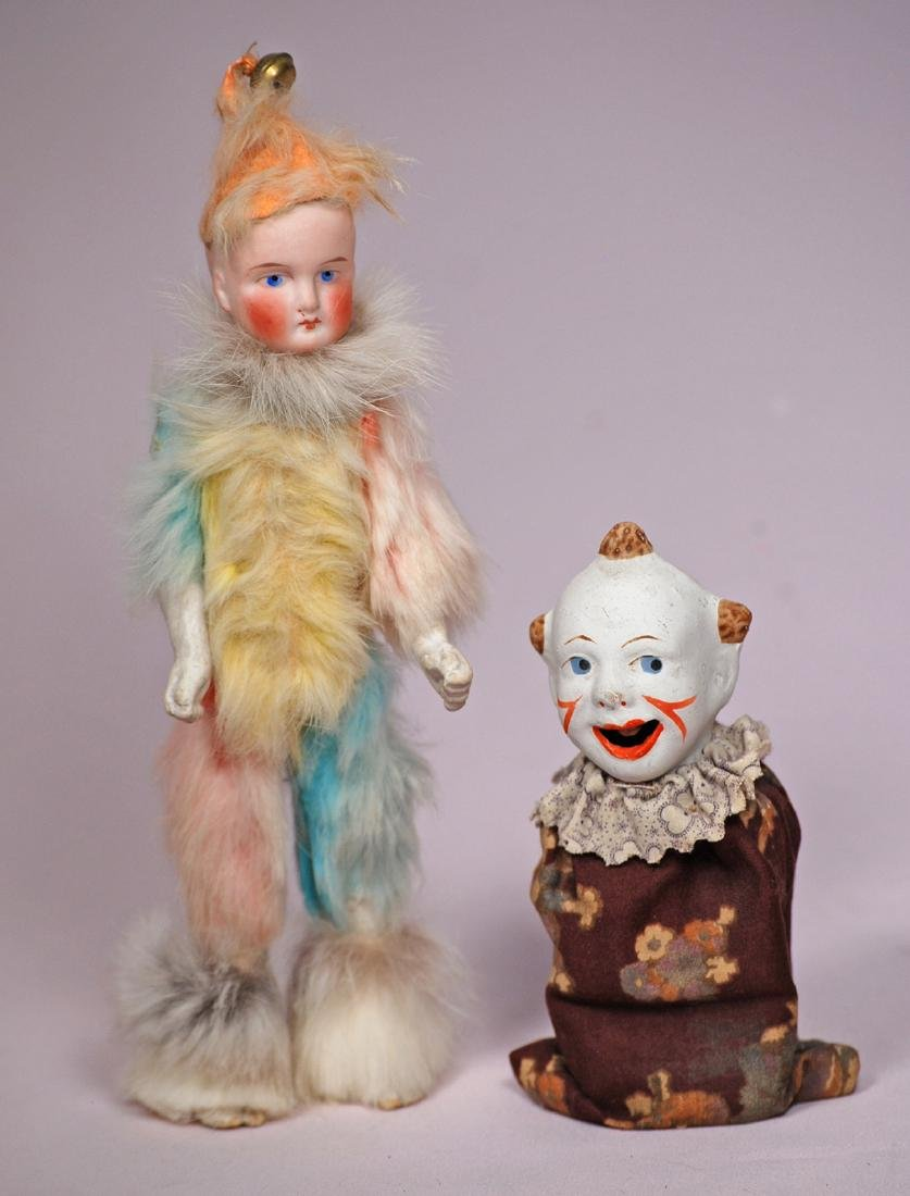 "207. GERMAN BISQUE CLOWN & PAPER MACHE CLOWN. (1) 9"" - 2"