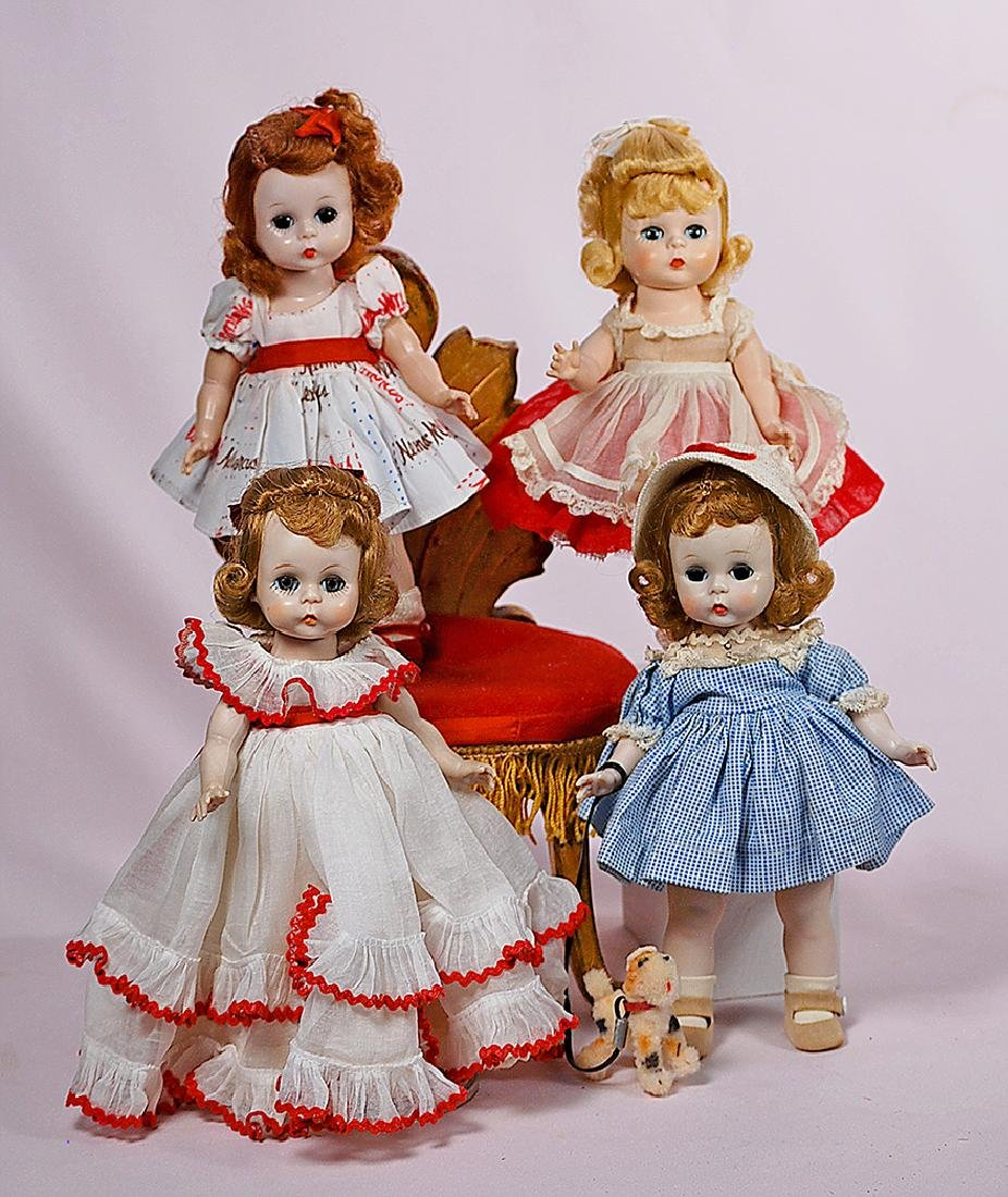 212. ALEXANDER-KINS 1954 DOLL IN RED AND WHITE ORGANDY.