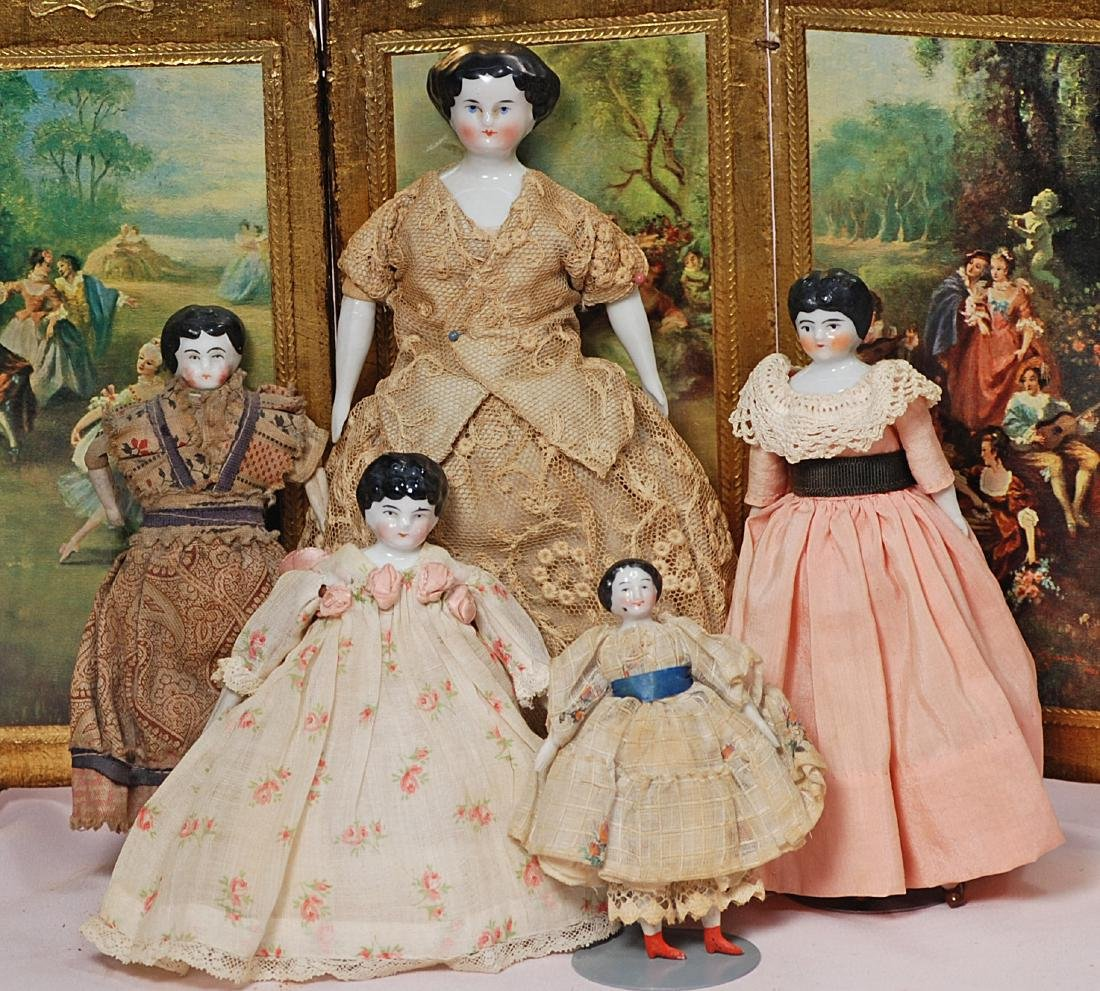 """220. FIVE DOLL HOUSE CHINA DOLLS. 3 ¾"""" to 8 1/2"""". Each"""