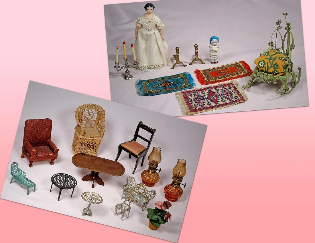 220-A. LOT OF DOLL HOUSE MINIATURES. Includes: Wood