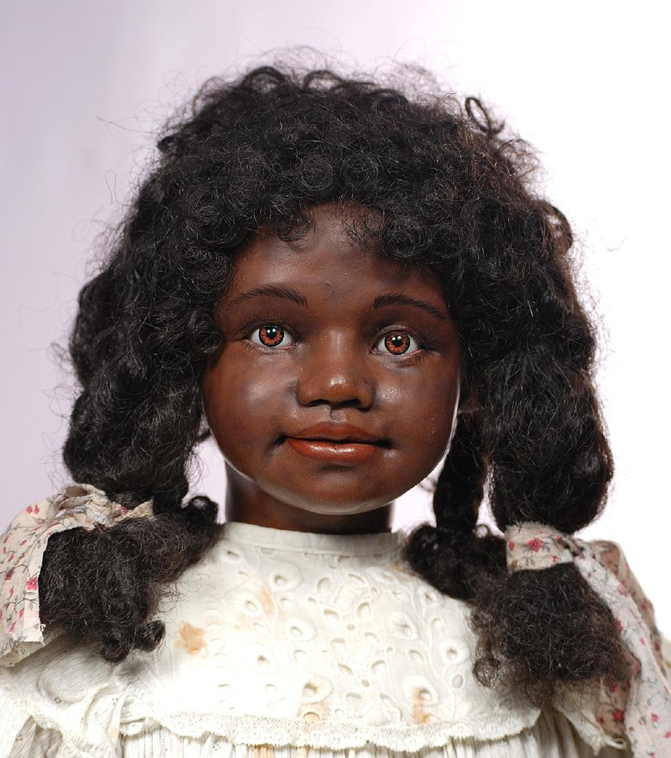 228. ONE-OF-A-KIND BLACK PORTRAIT DOLL BY ARTIST PEGGY