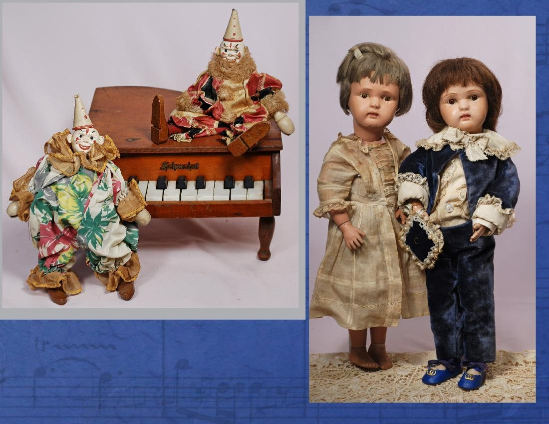 236. TWO SCHOENHUT DOLLS, TWO CLOWNS & PIANO. Dolls