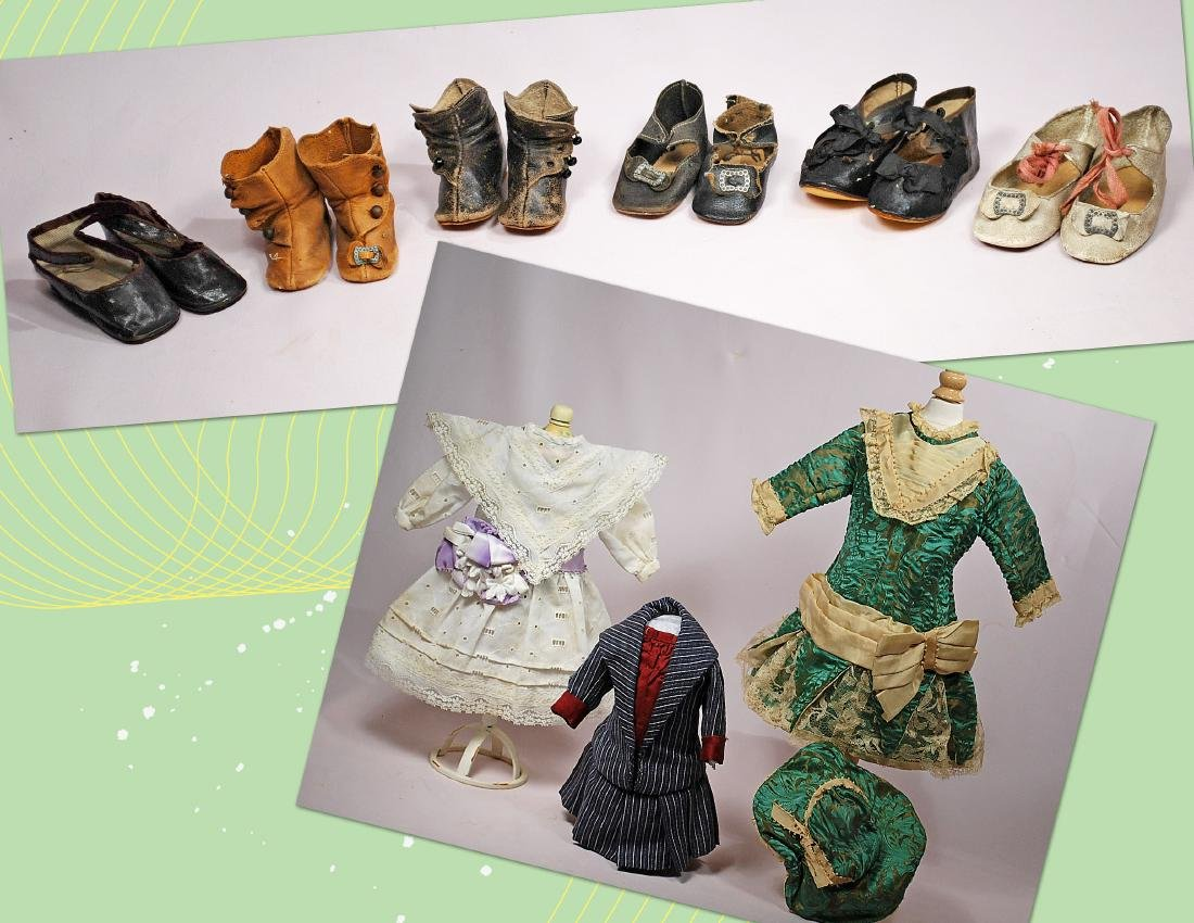 236-B. THREE DOLL DRESS & SIX PAIR OF ANTIQUE DOLL