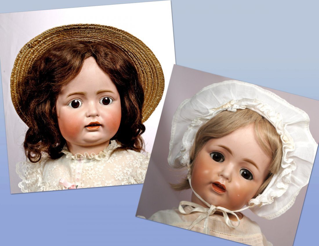 244-A. TWO J.D.K. BISQUE CHARACTER DOLLS BY KESTNER