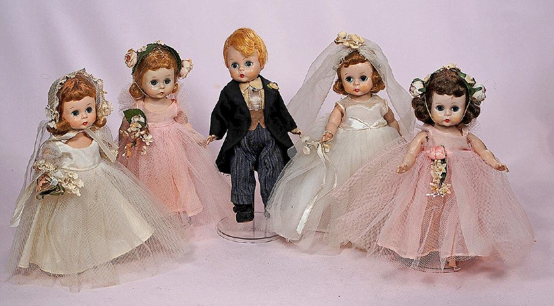 253. FIVE ALEXANDER-KINS BRIDAL PARTY DOLLS. Each is 8""