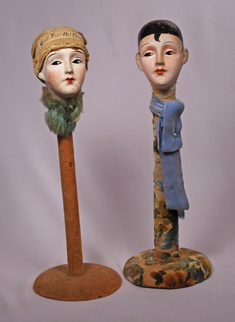 "259. TWO ART DECO HAT STANDS. 16"". Each has composition"