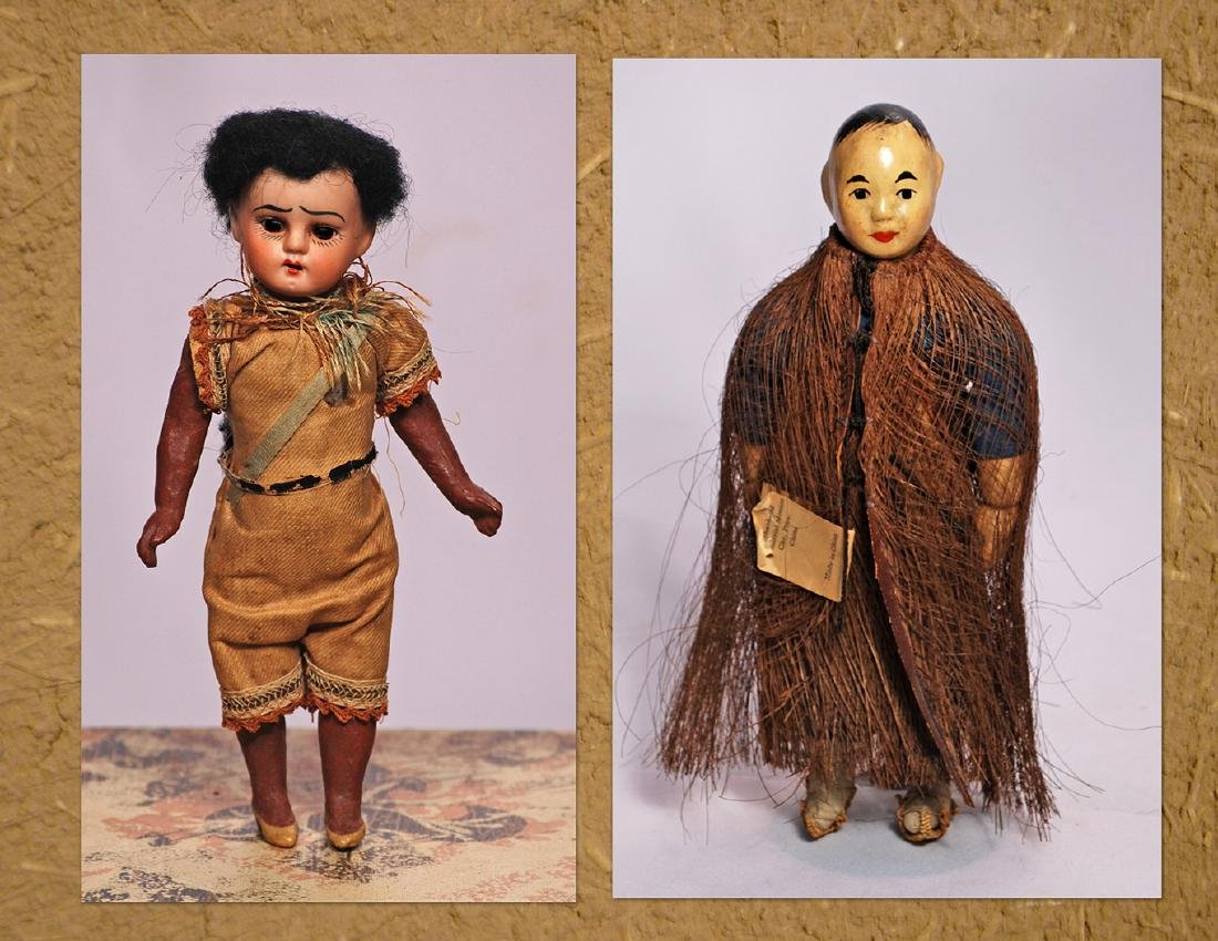 263. TINY GERMAN BISQUE NATIVE AMERICAN DOLL & CHINESE
