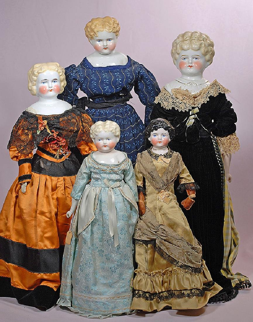 """266. FIVE GERMAN CHINA DOLLS. 14 1/2"""" to 22"""". Each has"""
