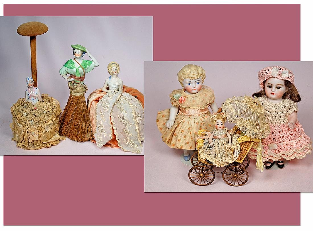 268. LOT OF ALL-BISQUE DOLLS & PINCUSHION DOLLS.