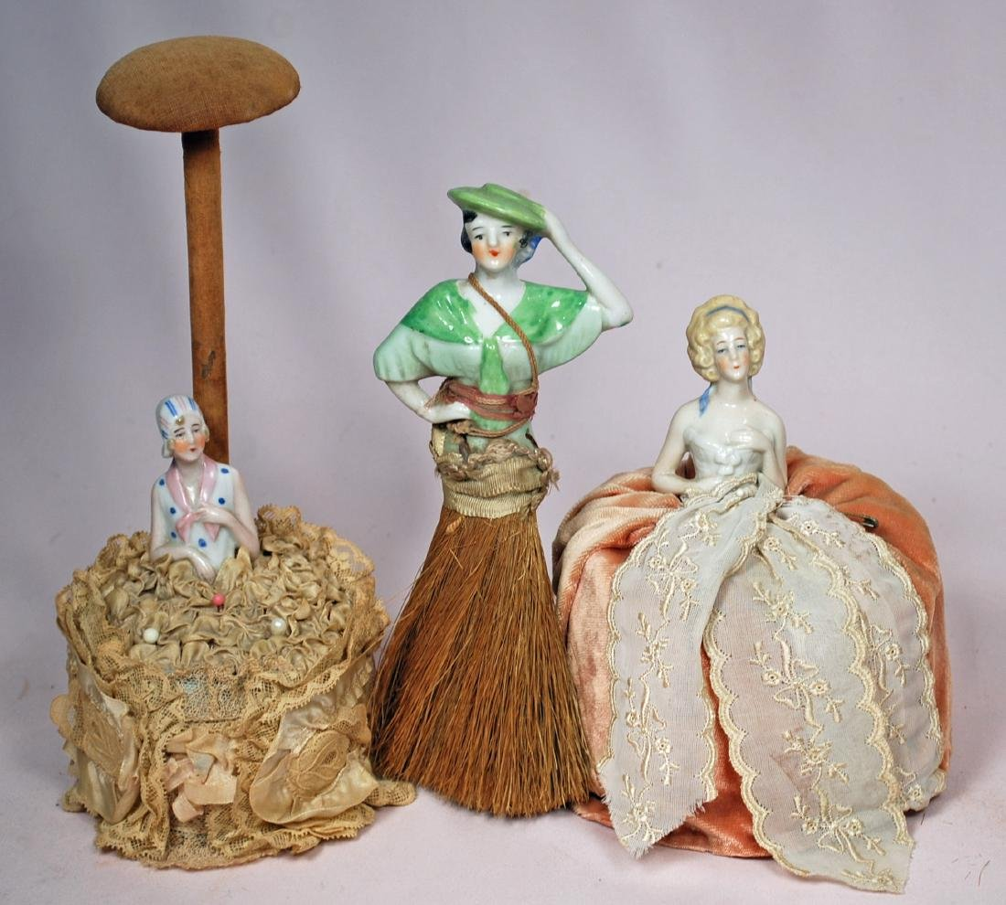268. LOT OF ALL-BISQUE DOLLS & PINCUSHION DOLLS. - 2