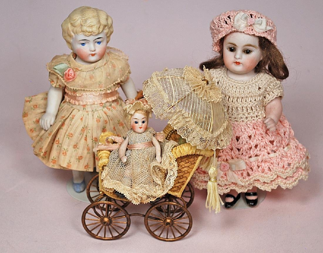 268. LOT OF ALL-BISQUE DOLLS & PINCUSHION DOLLS. - 3
