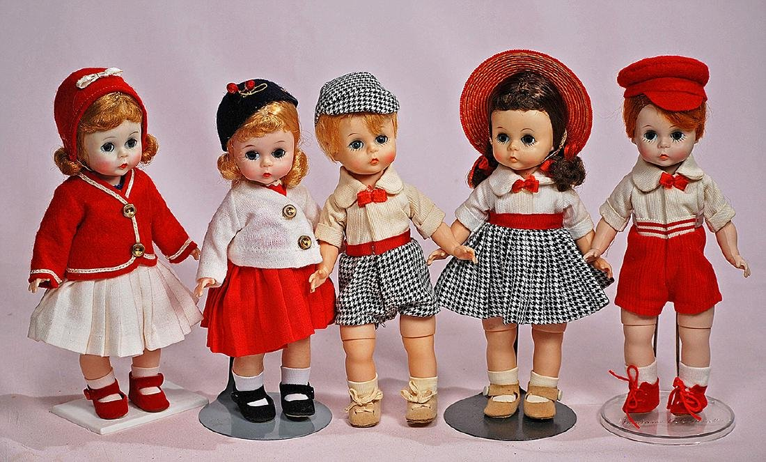"271. FIVE ALEXANDER-KINS DOLLS. Each is 8"" hard plastic"