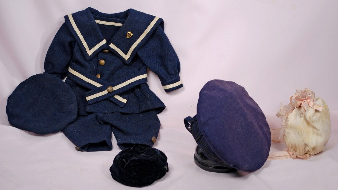 278-B. THREE DOLL BONNETS AND MARINER COSTUME.
