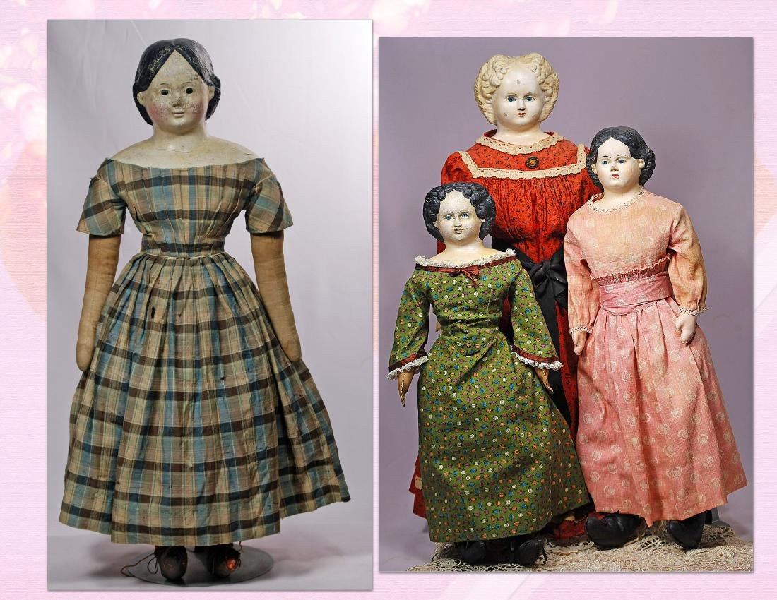 285. FOUR GERMAN PAPER MACHE GREINER DOLLS. (1) 24""