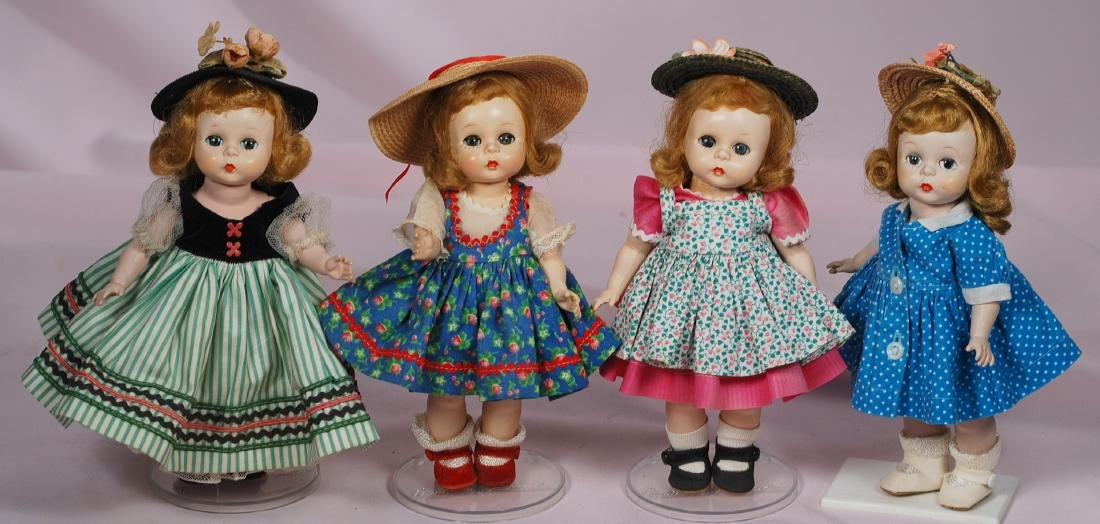 292. FOUR 1953-1954 ALEXANDER-KINS DOLLS. Each is hard