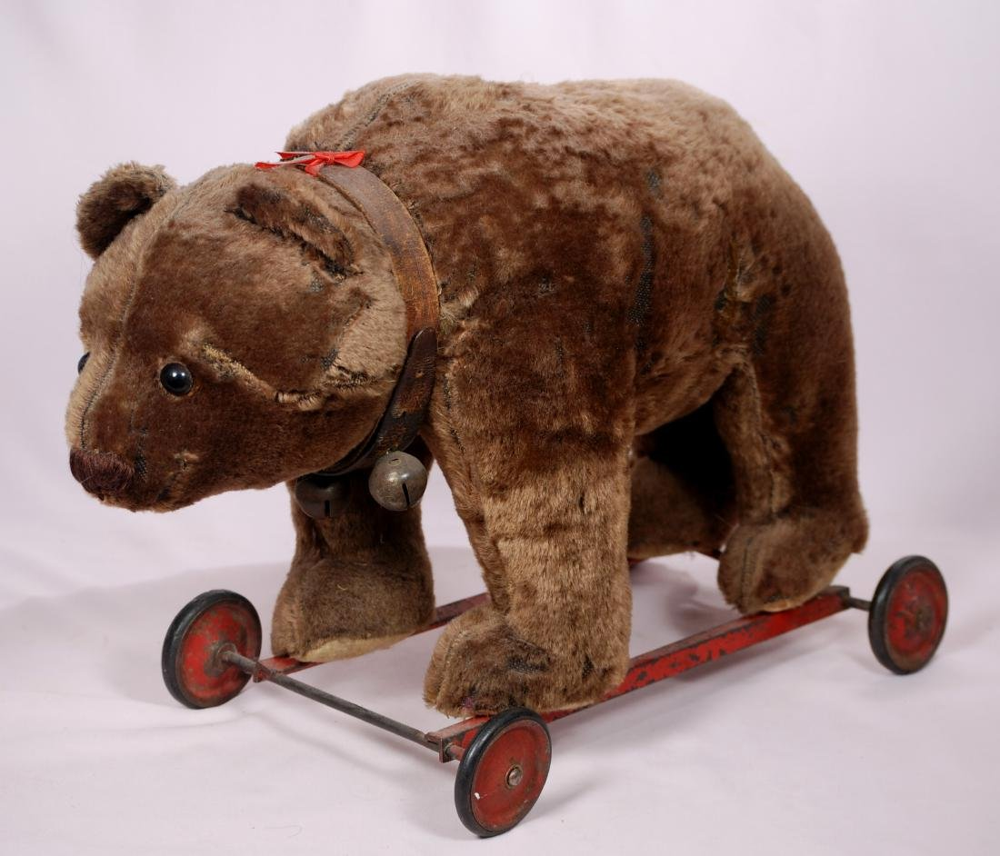 "298. ANTIQUE BROWN PULL TOY BEAR. 20"" x 15""H. Dark"