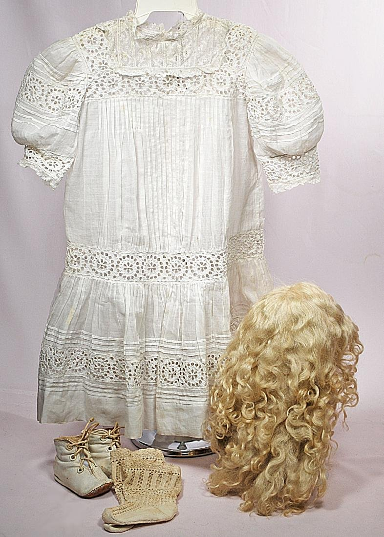 298-A. ANTIQUE DRESS, WIG, SHOES & SOCKS FOR LARGE